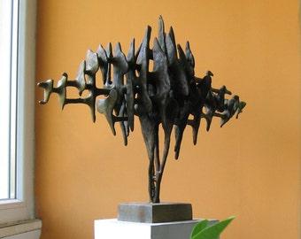 "ORIGINAL Large Metal Sculpture ""Sound"" // Modern Brass & Oak Figurine, Surreal Shape Statue, Abstract Figurative Art Object, Cubic Iron Wave"