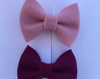 Two mini bow set - baby bows - hair clips - baby clips - baby shower gift - first birthday - ponytail bow - pigtail bows