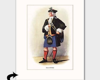 Clan MacIntire Family Art Print w/Mat (Clan Chief Art Gift, Traditional Scottish Dress) --- Matted Scotland Art