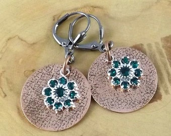 Emerald Green Copper Eclipse hand textured copper and Swarovski crystal gunmetal leverback earrings