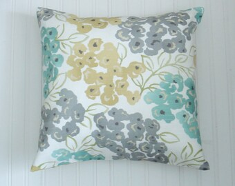 Blue.Yellow Gray Pillow Covers .Housewares.Pillows.Floral.Home Decor. Pillow Covers.Throw  Pillows.Any Sizes. Fabric Front and Back.  Decor.