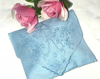 Handmade Sachet Made from An Antique Something Blue Handkerchief with an Initial R