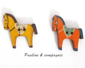 Set of 10 wooden horse motif buttons