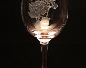Roses Flower engraved Wine Glass gift present