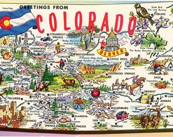 Colorado Centennial State Map Vintage Postcard (unused)