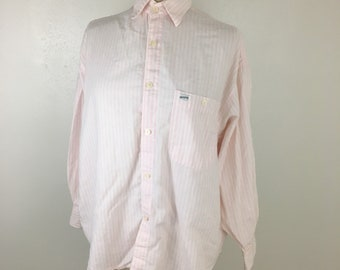 Vintage Guess striped pink button up top women's 90's top