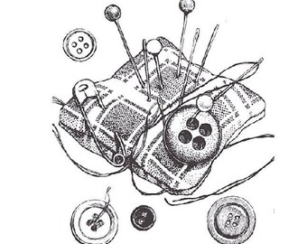 Sewing tc182 sold unmounted rubber stamp