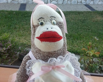 Vintage toy sock monkey ballerina