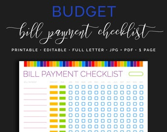 Monthly Bill Payment Tracker, Bills Due Date Checklist, Payday Organizer Calendar, Finance Planner, Home Budget  Rainbow Planner Inserts PDF