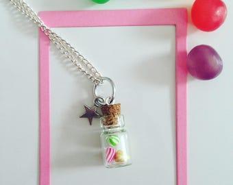 Star charm necklace vial berlingots fimo