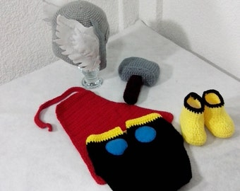 Super Cool Thor Baby Set! (Hat, boots, hammer, diaper cover and cape) Newborn-18 months baby