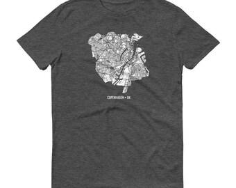 Copenhagen Shirt, Copenhagen, Denmark, Copenhagen TShirt, Copenhagen Map, Denmark Gift, Danish Tee, Denmark Shirt, Danish Map, Art
