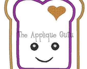 Peanut Butter - Jelly Toast Applique -- Machine Embroidery Design