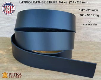 "Black  Leather Strips - Black Latigo Leather 6-7 oz (2.4 - 2.8 mm) up to 96"" long- Black  Leather Strip -  Craft Leather Strips made in USA"