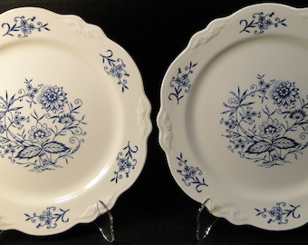 "TWO Homer Laughlin Virginia Rose Dresden Imperial Blue Dinner Plates 10"" Set of 2 EXCELLENT!"