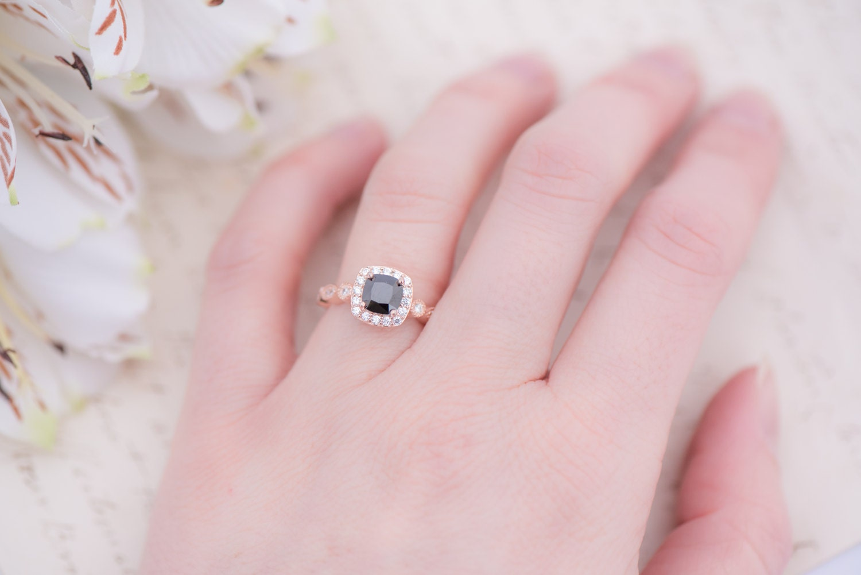 Rose Gold Black Engagement Ring Cushion Cut Halo Ring Art
