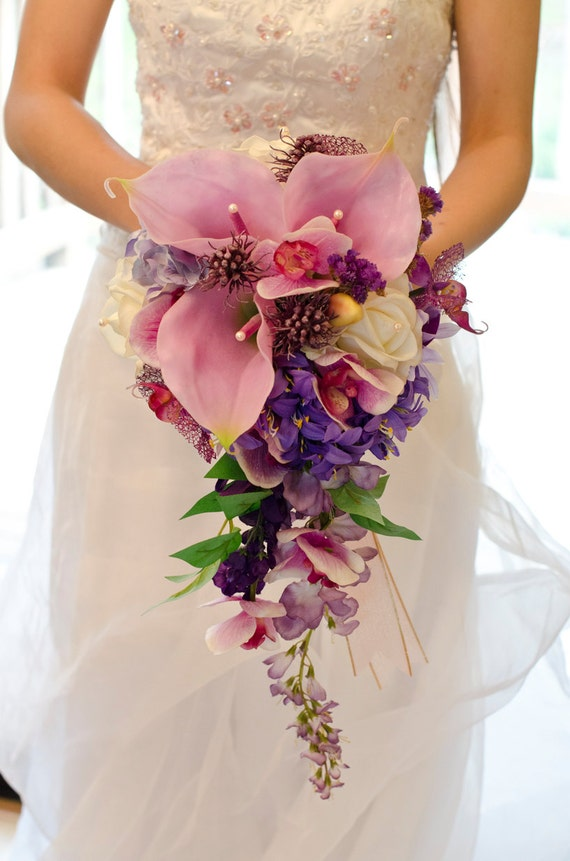 Items similar to Real Touch Orchid & Calla Lily Purple Wedding ...