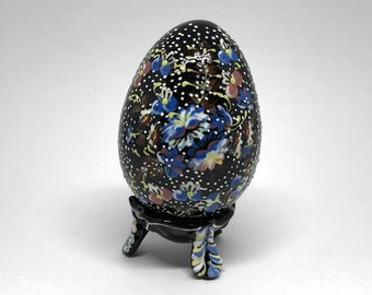 Hand Painted Ceramic Egg Ornament On The Stand Magnolias Under Night Sky Flowers Pattern