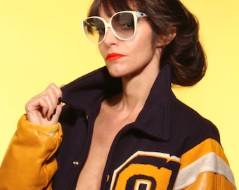 Seventies oversize sunglasses.ivory and sky blue. Granny style