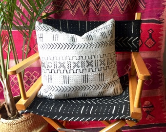 Mustard Black & White African Mudcloth Directors Chair - Solid Wood Frame - One of a kind