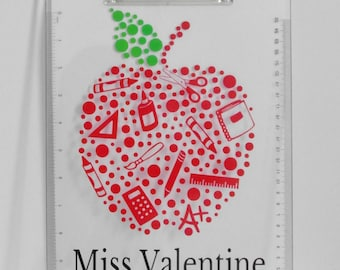 Personalized teacher clipboard clear acrylic apple design