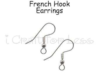 24 (12 Pairs) Hook Ear Wires, Earring Hooks, Fish Hook Earring Wires, French Hook Earrings - SEE COUPON