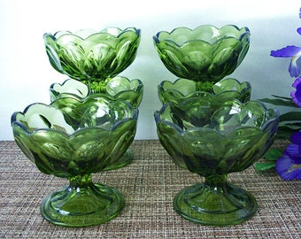 Vintage 1970's ANCHOR HOCKING Glass – FAIRFIELD Pattern – Set of Six Compotes, Comports, Sherbet, Fruit or Dessert Glasses in Avocado Green
