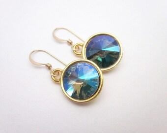 Paradise Shine Crystal Earrings, Swarovski Dangles, Gold Green Purple Earrings, Green & Purple Drop Earrings, Unique Crystal Jewelry, Rivoli