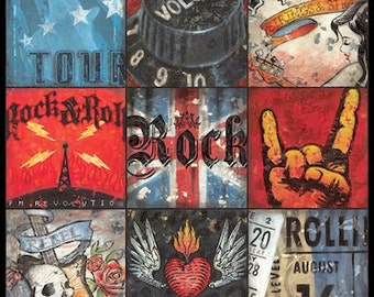 Ultimate Rock and Roll Music Collage wall art by Aaron Christensen- perfect for the musician, music lover, rock star and wanna be rock star