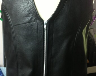 Leather vest Black and Blue