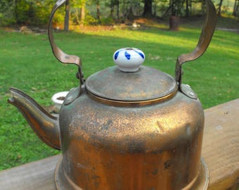 Vintage 1960's - 1970's Copper Patina Tea Kettle With White and Blue Floral Porcelain Handles Teapot rustic and shabby chic art deco