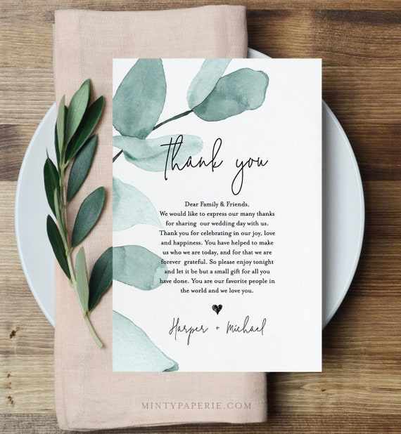 Thank You Letter, Greenery Wedding In Lieu of Favor Card Template, Napkin Note, INSTANT DOWNLOAD, 100% Editable Text, Templett #049-110TYN