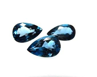3Pc-Sets-AAA Genuine London Blue Topaz Pear Cut Stone 8x12--7x12MM Wholesale Price