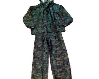 Rainsuit XL Camo Jacket and Bib Style Pants River City Protective Wear