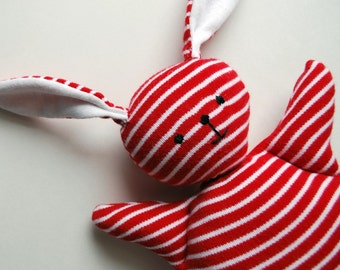 Red Stripey Mooshy Belly Bunny - Easter - baby toy - Rabbit Plush - Stuffed Animal - Upcycled - Bunny Plushie - Soft - Sweet - Small