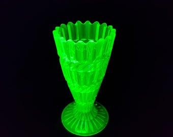 Striking Victorian Uranium Green Glass Vase by Henry Greener c. 1880