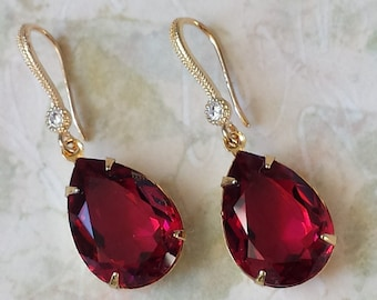 chandelier red dangle crystal earrings