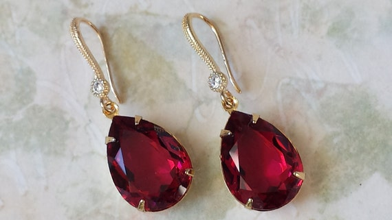 Swarovski Ruby Earrings Swarovski Ruby Red Crystal Earrings Swarovski Crystal Rhinestone Earrings Red Teardrop Earrings Wedding Jewelry by Etsy