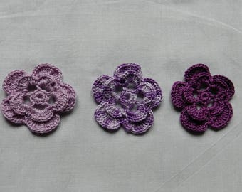 set of 3 flowers purple/mauve/gradient purple scrapbooking/customization