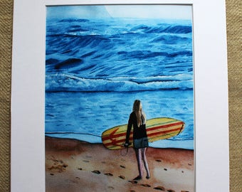 Female Surfer Watercolor Print, Surfer Watercolor, girl surfer, girl surfing, girl at beach, Ocean, Waves, Blue, Surf Art, Beach Art,  Mat