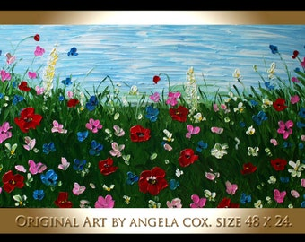 Original MODERN  Handpainted Floral  Poppies  Flowers  Impasto Palette Knife Painting. MADE2OrdeR.