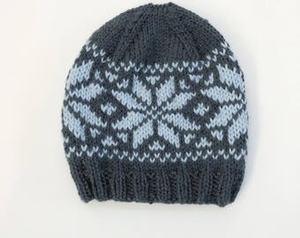 Traditional Winter Thick Knit Hat, handmade fairisle, fleece lined optional