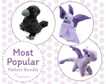 Most Popular Plush Sewing Pattern Bundle - Dragon, Crow/Raven, Bat
