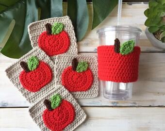 Apple coaster and cozy set, teacher gift, apple cozy, apple coaster, housewarming gift, principal gift, harvest set, wedding gift