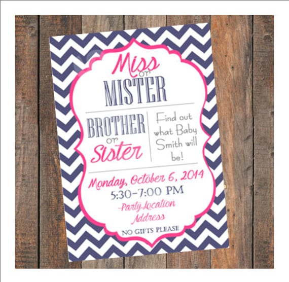 Gender Reveal Party Invitation Miss or Mister Brother or