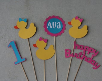 6 Piece Girl Duck Centerpiece Pick Set, Rubber Duck, Duck Birthday, Ducky Baby Shower
