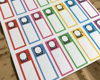 TV Television Planner Stickers
