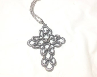 Large Beautiful Vintage Sarah Coventry Cross Necklace