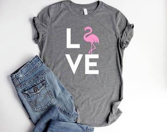 Flamingo Shirt LOVE Womens Pink Flamingo Party Shirts Flamingo Bachelorette Shirt Women Be a Flamingo Summer Shirt Women Cute Love shirt