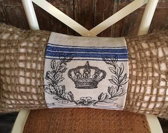 Vintage European Grain Sack Piece W/Crown Pillow Cover